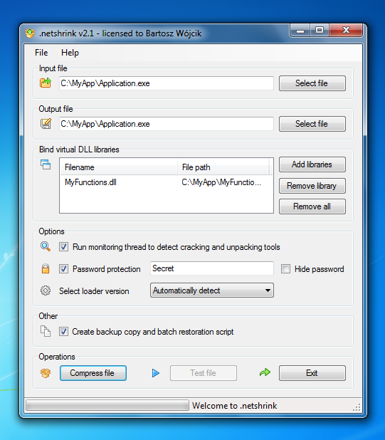 .netshrink kompresor i DLL binder dla aplikacji .NET