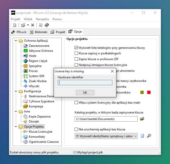 Podgląd okienka z identyfikatorem sprzętowym - blokada na sprzętowy identyfikator w PELock v2.0
