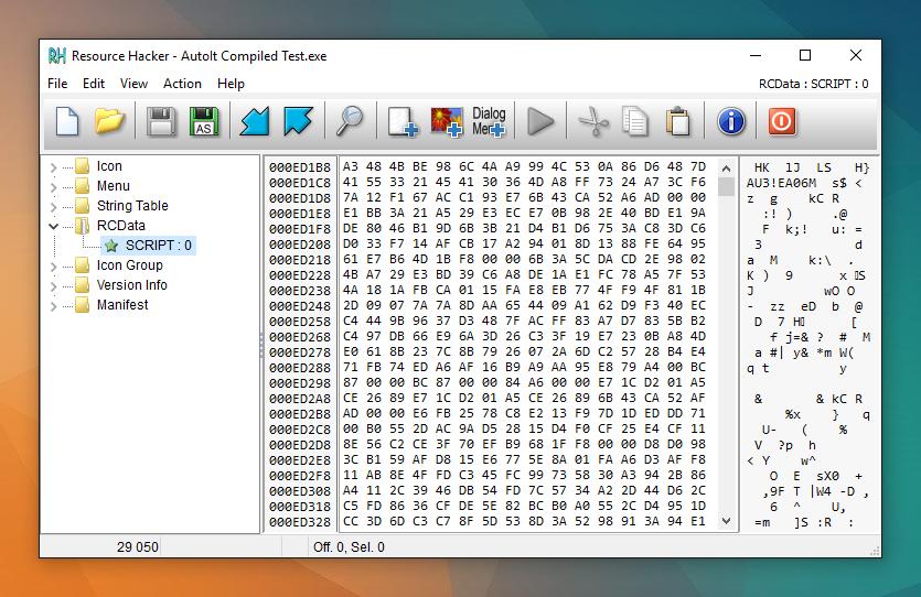 Ukryty skrypt AutoIt w zasobach EXE