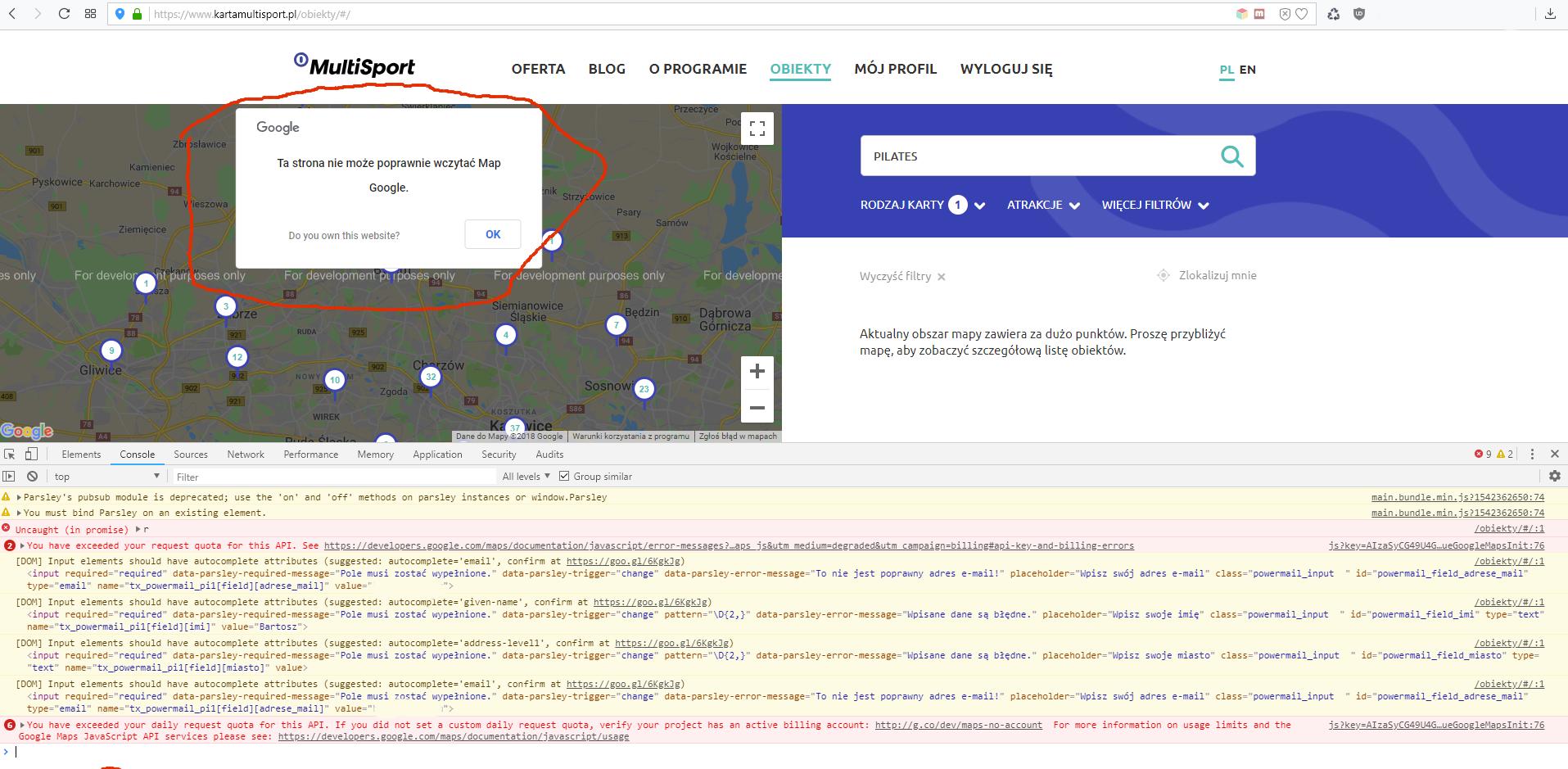 Błąd wyświetlania mapy w systemie MultiSport